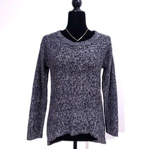 BLUE CRUSH Hi Lo Heathered Black & White Sweater S